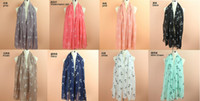 voile cotton anchor scarves - 180cm cm New fashion voile boat anchor pattern scarf women long shawls scarf suit for all seasons color optional