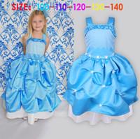 TuTu Summer A-Line 2014 Summer Baby Girl Child Kids Sleeveless Party Princess Dot Print Ball Gown Blue Flower Frozen Elsa Costume Dress H0140845