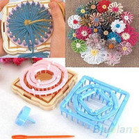 Wholesale 9pcs Size Knitting Knit Flower Pattern Tassels Loom Craft Maker Yarn Kit Set