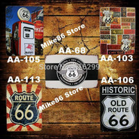 Wholesale Mike86 Route66 Antique Metal plate wall art decor House Cafe pub Retro Craft Gift Painting RA Mix order CM