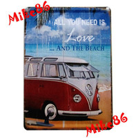 Wholesale Mike86 ALl you need is the love and beach VW BUS Tin Signs Vintage Wall Art decor OLD Iron Painting K Mix Items15 CM