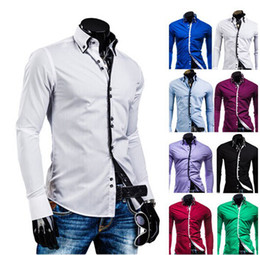 Wholesale 2014 Men s Casual Shirts Square Button Cotton Blend Long Sleeve M XXL White Black Red Purple Blue Green Slim Fit Stylish
