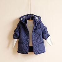 Wholesale Boys Cotton Hoodie Jacket Winter Warm Wear Long Sleeve Thicken Fleece Coat Children Clothing Clothes Boy Outwear Jacket Blue Brown K1037