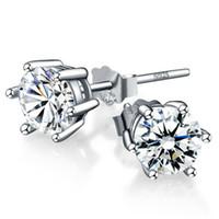 Stud zirconia stud earrings - 6mm Sterling Silver CZ Stud Earrings Cubic Zirconia Stud Earrings With pairs