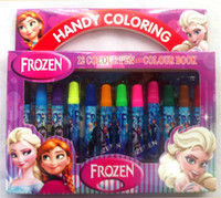 Wholesale Frozen cartoon Coloring book Water Color Pen stationery set elsa anna princess Fancy Drawing kids set W01