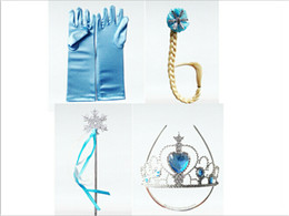 Wholesale Frozen princess crown magic wand braid gloves set of