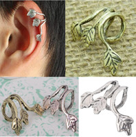 Wholesale Europe Style Hot Punk Gothic Rock Leaves Clip Stud Earring Ear Cuff Leaf Design Wrap Ear Ring New JE05109
