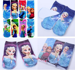 48pcs=24pairs 2017 hot cartoon socks Children's girls elsa anna print frozen socks kids Stocking Cheap Free shipping 38314799330