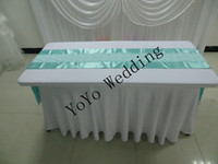 Wholesale 6ft white rectangular spandex lycra table cloth cover with swag for wedding party banquet hotel