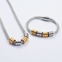 Wholesale Fashion punk L stainless steel silver gold strands cable bracelet and necklace jewelry sets SBN0079