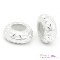 Wholesale European Stopper Beads W Rubber Flat Round Silver Plated Pattern Carved x5mm B27057