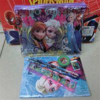 Wholesale Frozen Stationery set pencil bags Pencil Eraser Pencil sharpener Book Ruler Anna Elsa princess Cartoon W02