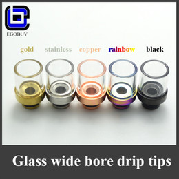Wholesale glass drip tip tips rainbow gold Stainless Steel copper black Pyrex Wide Bore Atomizer Mouthpieces for ego atomizer rda rba vaporizer