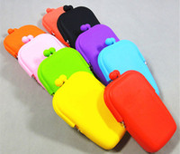 Hasp   Wholesale - 50pcs Silicone Coin Purse Makeup Bags Purse Money Bag Wallet Cosmetic Storage Phone Cases