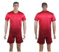 World Cup Portugal Home Uniforms Red Soccer Jerseys Embroide...