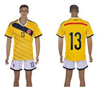 World Cup Colombia Home Uniforms Yellow Soccer Jerseys Embro...