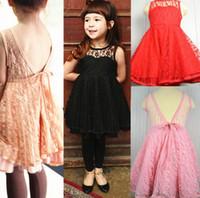 Wholesale 2013 Girls Summer Black Lace Suspender Vest Dresses Girls Hollow Out Gallus Dresses Girl Dress