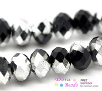 Round Shape strands of glass beads - Silver Plated Black Crystal Glass Faceted Rondelle Beads mm cm sold per packet of strands B14939