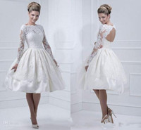 Wholesale 2014 Winter Style Short Wedding Dresses Long Sleeve Bateau Neck Knee Length A Line Satin Lace Bridal Gowns Custom Made W181