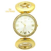 Wholesale GOLD WINNER Brand Fashion Women Ladies Diamond Band Big Roman numeral Shell Face Watches Quartz Watches Wristwatches GW180058