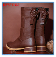 Wholesale ENMAYER New Round Toe Mid Calf bow snow boots winter platform boots for women pu Cow Muscle Martin boots