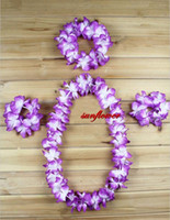 Wholesale 6 Colors Ladies Beach Party Hawaiian Garland Leis Flower Headband Bracelet Lei Grass Skirt Set