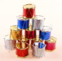 Wholesale Colorful Christmas Xmas Gift Drum Ornaments Bling Shiny Laser Surface Gifts Drums