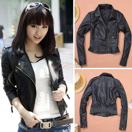 Wholesale S XXL Winter Women Motorcycle Leather Coat Jacket Short Diagonal Zipper Outerwear SV006077