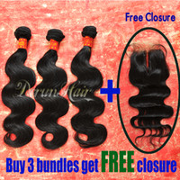 Wholesale Buy Hair Bundles Weft Get Free Lace Closure A Unprocessed Peruvian Brazilian Virgin Hair Extension Body Wave Wavy Human Hair Weave Dyeable