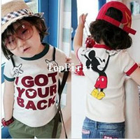 Cheap Children's clothing wholesale 2013 summer new boys and girls cartoon Mickey mouse short-sleeve T-shirt Free shipping