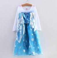 TuTu Summer Princess Dress Brand New Fashion Frozen Elsa Princess Coronation Full Dress Girls Cosplay Perform Costume Skirt Long Sleeve Children's Dress 5pcs lot F07