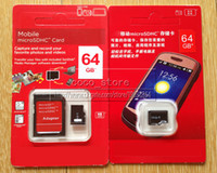 Wholesale Class GB Micro sd card TF for Tablet PC Smart Phones Camera MP4 Memory Card SDHC Cards with Free Adapter And Red Retail Packaging