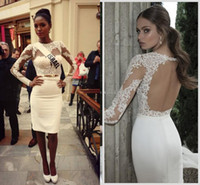 Ivory long sleeves lace short homecoming dresses with high c...