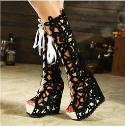 New 2015 Sexy High Heel Hollow Out Red Black Knee High Boots Women,over the knee boots,open toe boots