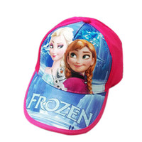 Wholesale Fashion Frozen Baby Hats Pink Rose Children European Cartoon Princess Frozen Elsa Anna Baseball Caps Kids Sun Hats