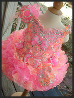 Wholesale Little Girls Pageant Dresses Hot Fixed Rhinestones Beaded Handmade Flowers Toddler glitz Mini Cupcake gorgeous