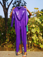 Zentai / Catsuit Costumes rubber clothing - USPS rubber latex catsuit metalic purple mm rubber latex clothing latex zentai womens catsuit gothic clubwear costume