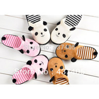 Cheap soft outsole family winter stripe warm slippers home Cartoon panda Anti-slip slippers women cotton animal Indoor shoes