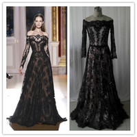 Reference Images Jewel/Bateau Tulle Hot Sale Long Sleeve Evening Dresses 2014 New Arrival Zuhair Murad Off Shoulder Black Lace Prom Gowns New Arrival