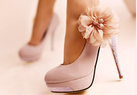 Wholesale Hot High heel shoes quality dress flower ladies fashion lady pumps women s sexy heels wedding shoe