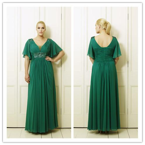 Green Plus Size Mother Of The Bride Dresses V Neck Beads Ruffle ...