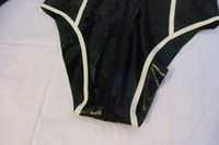 Wholesale USPS rubber latex leotard rubber leotard black with white line rubber clothing not pvc or leather leotard