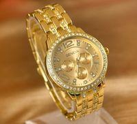 Wholesale New Geneva Brand Fashion Luxury Created Diamond Watches for Men Women Stainless Steel Casual Quartz Watch Unisex