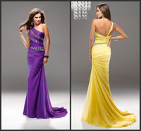 Reference Images One-Shoulder Chiffon Wow Factor Free Shipping Purple One Shoudler Crystal Beading Ruch Sheath Evening Dress Prom Gown