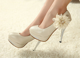 New Pink Beige high heel bridal shoes lace flower wedding dress shoes beaded close-toe lady shoes