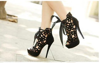 Wholesale New Super High Heels Wedding Shoes Gladiator Sandal Super High Heel Hollow Out Red Black Ankle Bootie