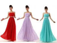 Cheap 2015 NEW Bridesmaid strapless Chiffon formal prom maxi gown long wedding party hunter red light purple plus size under 50$ dresses