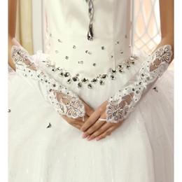 Wholesale 2014 Hot Sale Net Fingerless Bridal Gloves Luxury Crystal Beaded White Ivory Wedding Gloves G02