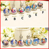 Watch Sets clothing chain - In Stock Frozen Elsa Anna Kids Gift Necklace Pocket Watch Children Girl Lovely Snow Queen Olaf Ceram Clothes Chain Silver High Quality Melee