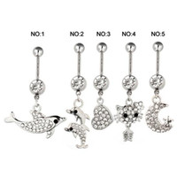 Women's animal piercings - Summer Style Belly Button Rings Sexy Body Piercing Jewelry Belly Bars Piercings Navel Piercing Gothic Dangling Belly Piercing Women